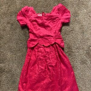 Vintage Talbots pink prom dress brocade as 2 bow